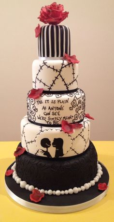 The Nightmare before Christmas wedding cake by facebook.com/thecakeladydevon.com