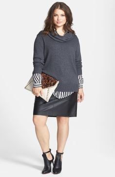 DKNYC - Faux Leather Trim Cowl Neck Pullover with skirt . #plus_size_fashion