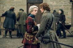 <p>Andrew Gower as Prince Charles Stuart and Sam Heughan as Jamie Fraser</p>