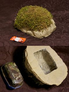 Chia Cache This is a geocache made of concrete with some fake moss added for a hint of realism. Note the hot sauce is for size comparison only not for dipping.