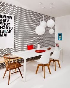 Beautiful Modern Dining Room Wallpaper Designs 62 For Your Interior Designing Home Ideas with Modern Dining Room Wallpaper Designs Room Wallpaper Designs, B&w Wallpaper, Dining Room Wallpaper, Hexagon Wallpaper, Rustic Dining Room Sets, Dining Room Colors, Dining Room Design, Dining Area, Dining Room Inspiration