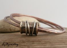 Triple Bangle Copper Bangle Mixed Metal Bangle by LjBjewelry, $53.00