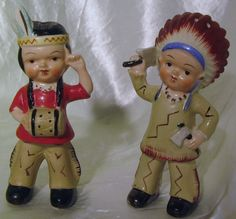 1950's Vintage Boy & Girl Chief and Squaw Indian Salt & Pepper Shakers Japan   eBay