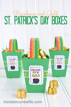 St. Patrick's Day Boxes - cute popcorn box using a die cut from Lifestyle Crafts  #lifestylecrafts #rainbow