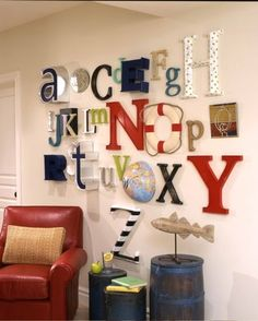 I love this idea for a kids playroom alphabet wall for kids play room (I like the use of the half-globe on the wall-L) Alphabet Wall Art, Letter Wall, Kids Alphabet, Alphabet Display, Letter Collage, Typography Alphabet, Alphabet Design, Alphabet Soup, Vintage Typography