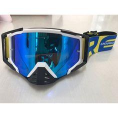 9e9f1cec747b8 Óculos Capacete MotoCross Red Dragon EFX YH-105 BP Branco Preto Lente  espelhada Azul