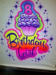 Airbrushed Cupcake Birthday Shirt w/ Name & by airbrushingbytaylor, $19.99