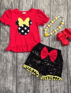 94447723e14 Mia Belle Baby - Girls Red Polka Dot Mouse Ruffled Top   Black Sequin Pom  Pom Shorts with Bow