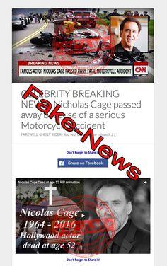Nicolas Cage is NOT Dead - Fake Death Message Opens Scam Websites