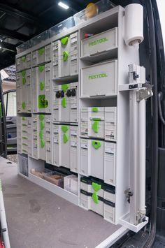 Kitchen Fitter's Festool Van 2018 VW Crafter. Garage Tool Organization, Diy Garage Storage, Locker Storage, Truck Storage, Systainer Festool, Van Racking Systems, Workshop Storage, Workshop Ideas, Van Signage