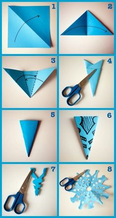 1001 + tips to learn how to make a decono paper garland . ▷ 1001 + tips to learn how to make a decono paper garland .,▷ 1001 + tips to learn how to make a decono paper garland . Instruções Origami, Paper Crafts Origami, Paper Christmas Decorations, Christmas Art, Blue Christmas Decor, Holiday Crafts, Fun Crafts, Arts And Crafts, Snowflake Template