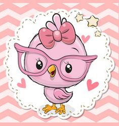 Cute Bird in pink eyeglasses. Cute cartoon Bird in pink eyeglasses with a bow stock illustration Cartoon Cartoon, Kids Cartoon Characters, Cartoon Birds, Cute Cartoon Animals, Cute Animals, Vogel Clipart, Bird Clipart, Cute Clipart, Dibujos Baby Shower