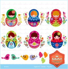 Printable Matryoshka Dolls--- Personal and Small Commercial Use. BP 0253. $5.00, via Etsy.