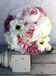 Silk Bride Bouquet Peony Flowers Pink Cream Purple Shabby Chic Wedding Decor. $99.00, via Etsy.