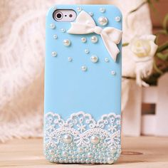 Image of Lace Bow Pearl Rhinestone Hard Cover Case For Iphone 4/4s/5