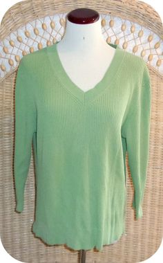 FADED GLORY Womens Top Size XL Green 3/4 Sleeve Ribbed Cotton #FadedGlory #KnitTop #CareerCasual