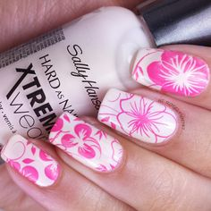 Garden stamping completed for the Challenge Your Art in June 2014. Full details on this mani and how I created it can be found on my blog ManicuredandMarvelous.com #nails #nailart #naildesign #cutenails #pink #flowers #stamping