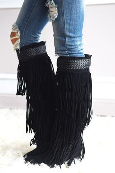 Womens Fringe Boots Tall Tassle Moccasin Faux Suede Brown Black ...