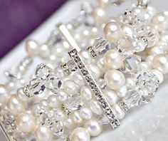 Statement Cuff Bracelet for Wedding. Bride Freshwater Pearl Bracelet. Bridal Pearl Cuff Bracelet.