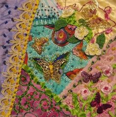 I ❤ crazy quilting, beading & ribbon embroidery . . . Cathy Wolsfelt Glover, Block for Brenda BJ Sandusky