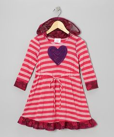 Another great find on #zulily! Fuchsia Stripe Heart Hooded Dress - Toddler & Girls #zulilyfinds