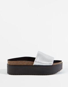 Pull&Bear - mulher - sapatos senhora - sandálias plataforma pala - prata - 11945111-V2016