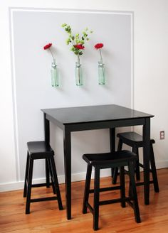 Simple Kitchen Decor = Vases on Walls + Simple Single Flower