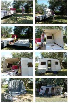 mode d'emploi Retro Caravan, Caravan Ideas, Camping Tools, Camping Gear, Camper Trailers, Campers, Gypsy Trailer, Gypsy Wagon, Caravans