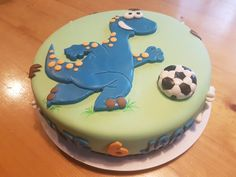 Dinosaur soccer cake. Soccer Birthday, Soccer Party, 4th Birthday, Birthday Cake, Soccer Cake, Dinosaur Cake, Party Ideas, Baking, Desserts