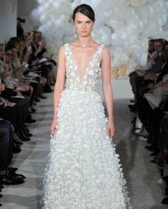 Mira Zwillinger Spring 2018 Wedding Dress Collection   Martha Stewart Weddings – Pastel blue V-neck wedding dress