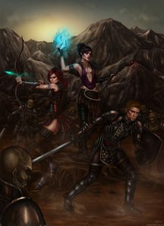 A fierce looking Dragon Age trio consisting of Alistair, Leliana, and Morrigan fighting a Darkspawn group. ~Dragon Age Origins by belldandy105 on deviantART