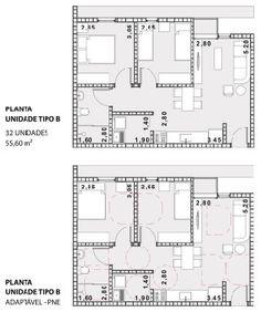 3º Lugar no concurso CODHAB-DF para edifícios de uso misto em Santa Maria,Planta Unidade B. Image Cortesia de AGA – Alexandre Gonçalves Arquitetura