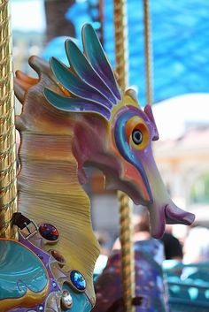 The Sea Horse on the Carousel at Disney's California Adventure Park  by DonnaMoore