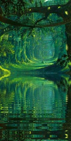 The Magic Faraway Tree, tree over the mysterious river, lake concept art landscape green nature world environment scene, speed painting Fantasy Places, Fantasy World, Fantasy Forest, Fantasy Town Names, Fantasy Village, High Fantasy, Fantasy Kunst, Fantasy Landscape, Fantasy Art Landscapes