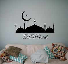 Eid Mubarak Wall Decal Sticker Vinyl Islamic Arabic Home Interior Art Decor Ideas Bedroom Living Room Office Removable Housewares 2nt ** Read more reviews of the product by visiting the link on the image.