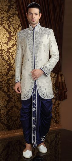 13097: Silver color family Dhoti Sherwani.