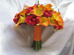 Real Touch Calla Lily Packages with your choice of flower and ribbon color,  made to order, packages available, destination, bouquet. $150.00, via Etsy.