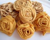Mustard yellow flowers wedding set 8 piece by flowersofparadise, Rolled Fabric Flowers, Fabric Roses, Faux Flowers, Yellow Wedding Flowers, Yellow Flowers, How To Make Headbands, Blouse And Skirt, Flower Applique, Wedding Sets