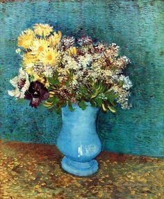 Vase with Flieder Margerites und Anemones Vincent van Gogh impressionistische Blumen
