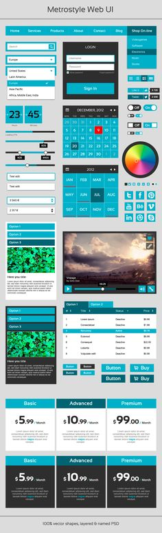 Metrostyle Web UI - Blue (Free PSD)