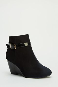 Womens Ladies Black Mid Wedge Heel Buckle Shoes Ankle Boots Size UK 5,6,7 New  Click On Link To Visit My Ebay Shop http://stores.ebay.co.uk/all-about-feet  Useful Info:  - Standard Size - Standard Fit - By Moow  - Black In Colour - Heel Height: 2.8 Inches - Gold Buckle With PU Strap - Patent Wedge - Faux Suede Upper - Textile/Leather Lining  #boots #ankleboots #shoes #blackboots #wedgeboots #wedge #wedges #black #fashion #footwear #forsale #womens #ebay #ebayseller #ebayshop #ebaystore
