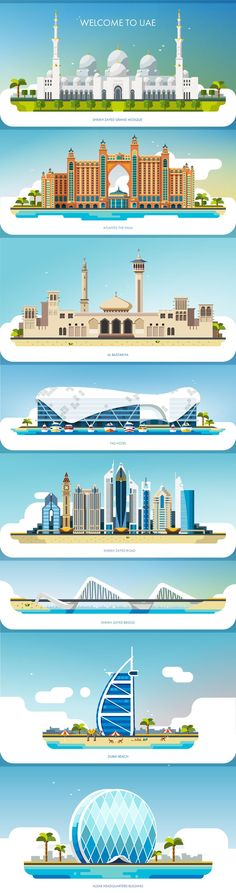 UAE (United Arab Emirates) landmark collection | by Oleg Beresnev - https://www.jovoto.com/projects/victorinox2018/landing?utm_source=pinterest.com&utm_medium=social&utm_campaign=cm17victorinox18&utm_content=pinterest_landing
