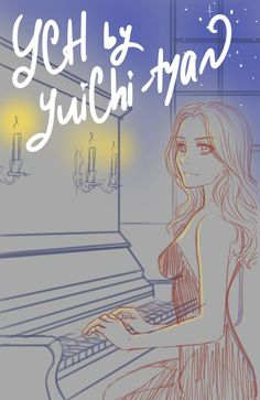 [closed] auction YCH at the piano by YuiChi-tyan on DeviantArt Girl Drawing Sketches, Art Drawings Sketches Simple, Cartoon Drawings, Cool Drawings, Drawing Piano, Piano Art, Drawing Base, Create Your Character, Human Anatomy Art