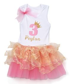 Another great find on #zulily! White & Orange Personalized Tutu Dress - Infant, Toddler & Girls #zulilyfinds