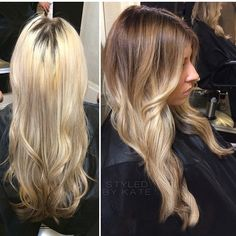 Platinum to blonde ombre color correction. #Styledbykate | Instagram: @StyledByKate_