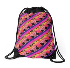 'Colorful Boombox Retro Pattern' Drawstring Bag by HavenDesign Retro Pattern, Drawstring Bags, Boombox, Color Patterns, Colorful Backgrounds, I Shop, Corner, Tote Bag, Stylish