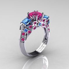 Classic 18K White Gold Three Stone Princess Pink by DesignMasters, $1459.00