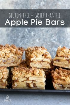 The expression should be Easy As Apple Pie Bars - these are so much easier than pie, and aren't missing a thing. (except the aggravation of dealing with pie crust) Paleo Sweets, Gluten Free Sweets, Paleo Dessert, Gluten Free Baking, Dairy Free Recipes, Healthy Desserts, Dessert Recipes, Paleo Recipes, Dessert Ideas