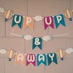 Up Up and Away Hot Air Balloon Banner by MemoriesBlossom on Etsy, Up Balloons, Birthday Balloons, 1st Birthday Parties, Hot Air Balloon Classroom Theme, Classroom Themes, Baby Shower Niño, Baby Shower Balloons, Balloon Banner, Balloon Party