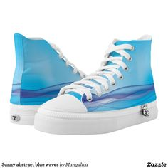 Sunny abstract blue waves printed shoes